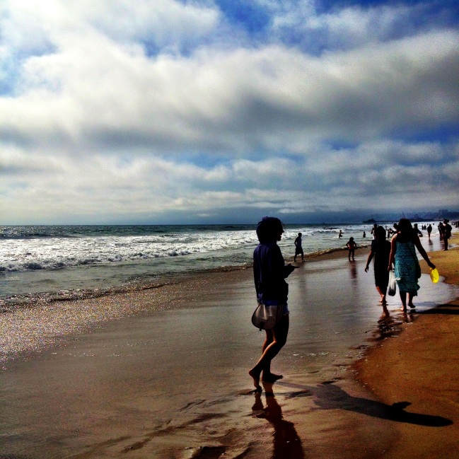 walking on santa monica beach.
