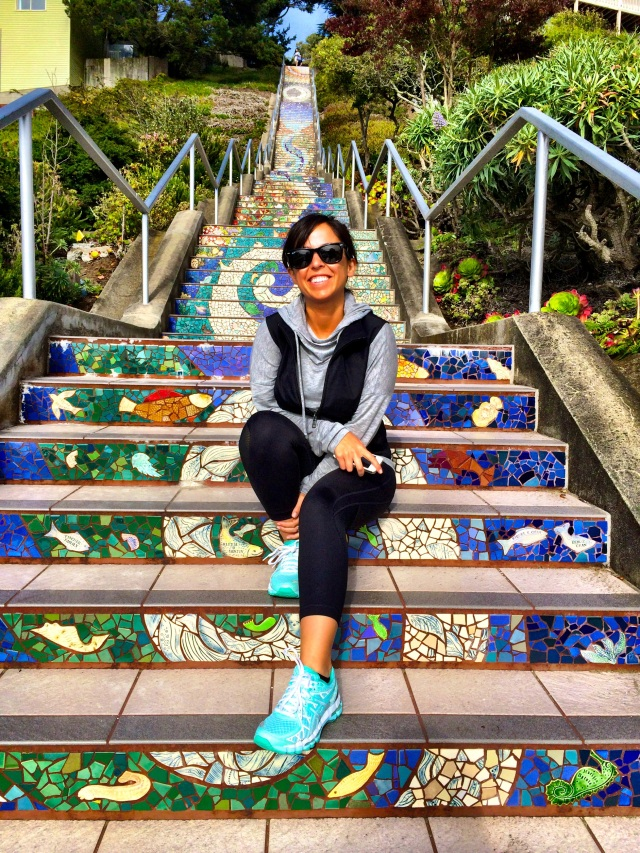 eat write walk blogger nina mufleh visiting the 16th ave tiled steps project in san francisco.