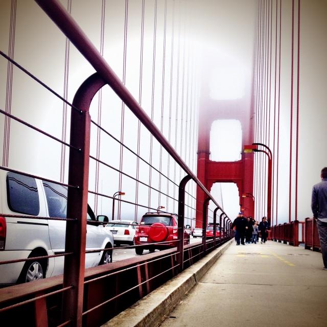 walking on the golden gate bridge.