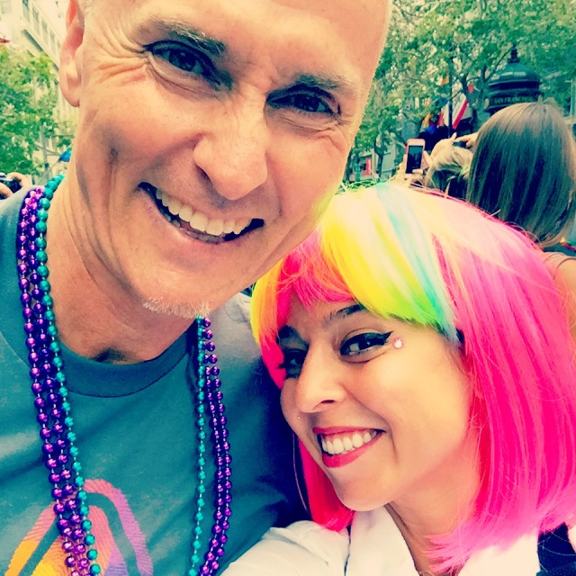 sharing a special moment in the parade with chip conley, a man i admire for the warmth and hospitality he exudes.